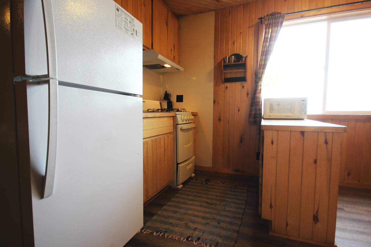Galley Style Kitchen with all the basics and view of the lake