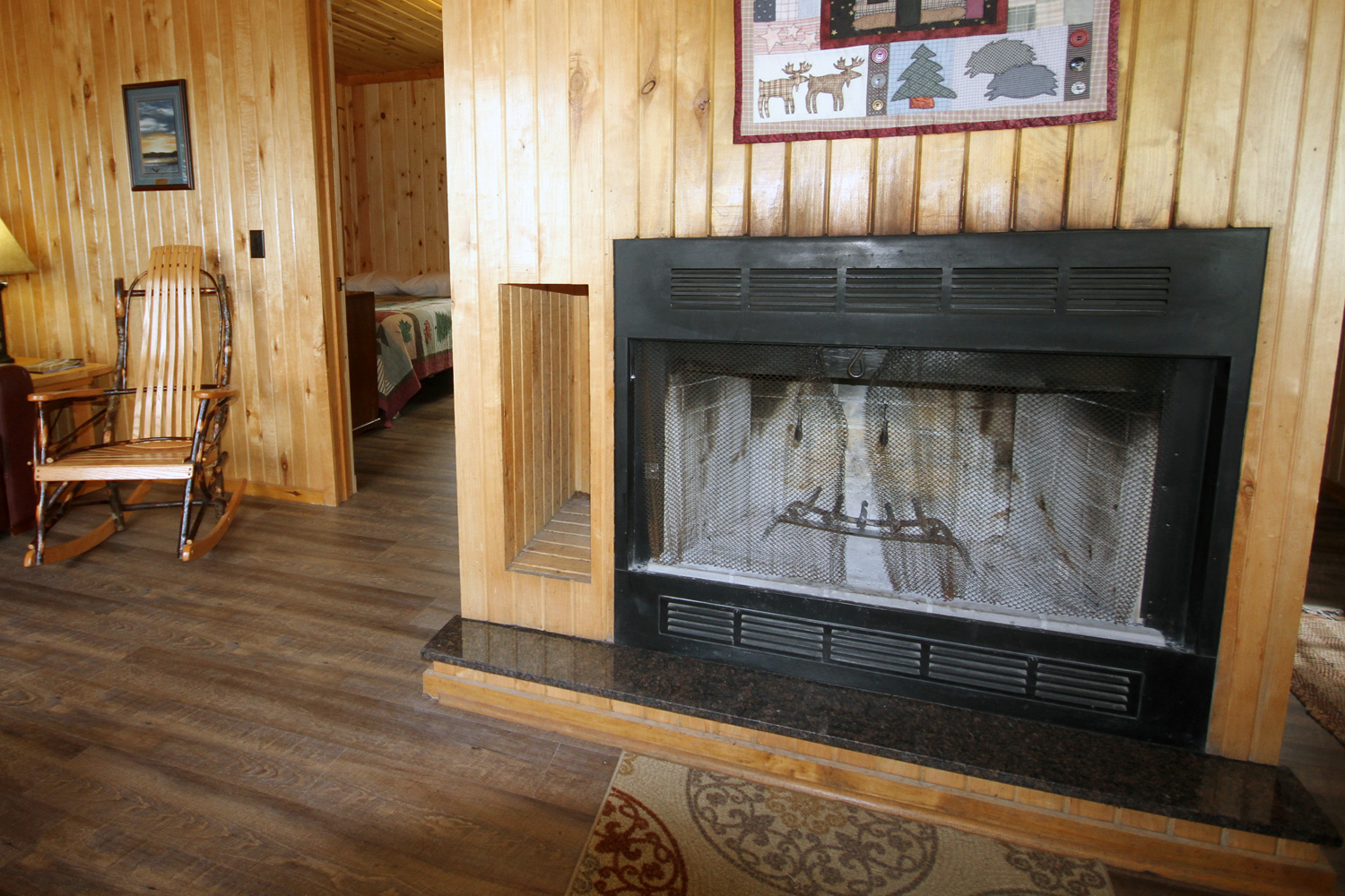 Wood Burning Fireplace for those chilly Spring & Fall Evenings