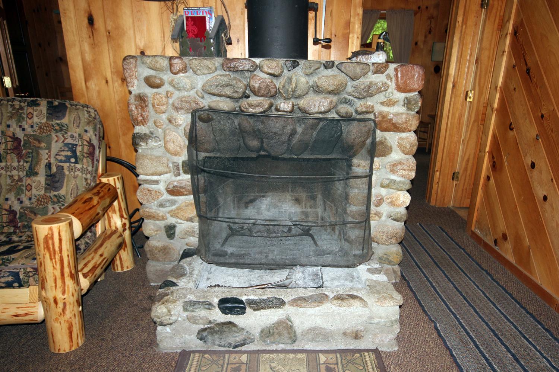 Fabulous Stone Wood Burning Fireplace