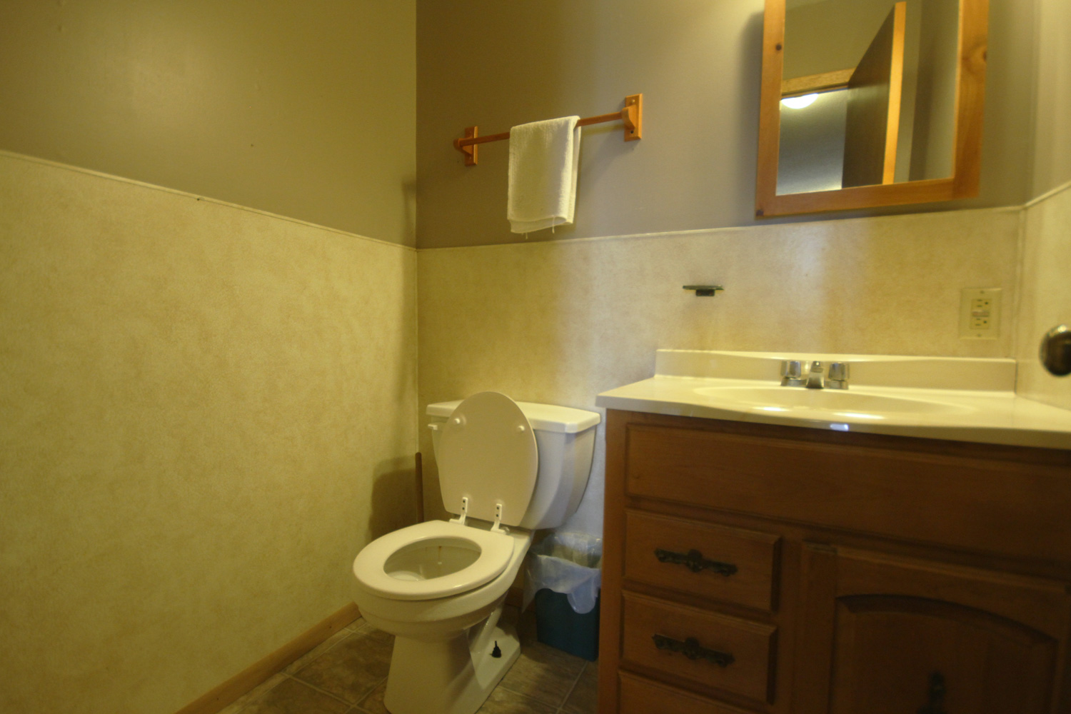 1/2 bath just steps away from the beds